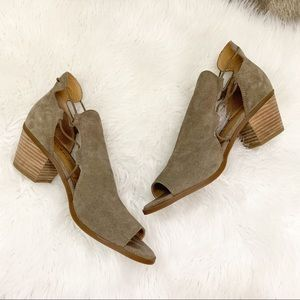 Lucky Brand Berrette Suede Peep Toe Bootie Taupe